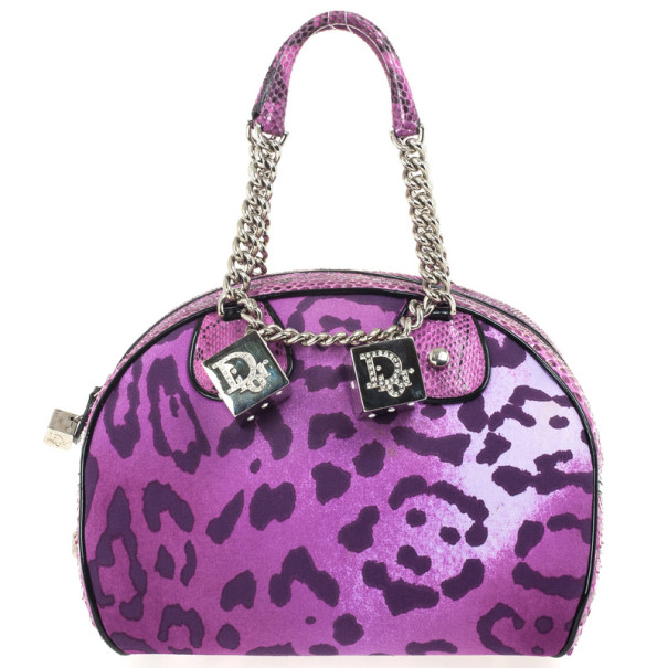 Christian Dior Purple Canvas and Python Gambler Handbag