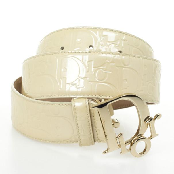 Christian Dior Cream Patent Diorissimo Belt