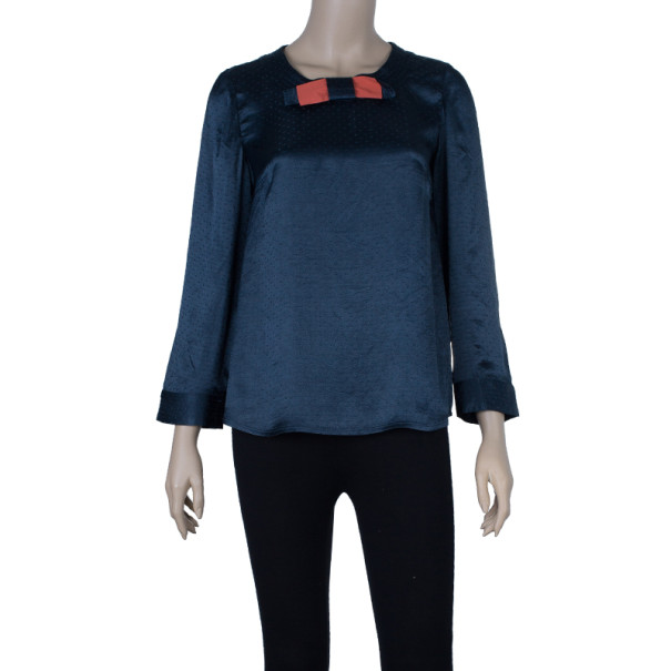Marc by Marc Jacobs Black Silk Bow Top S