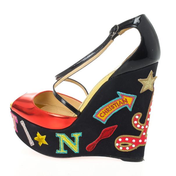 Christian Louboutin Loubi Zeppa Crisscross Wedges Sandals Size 39.5