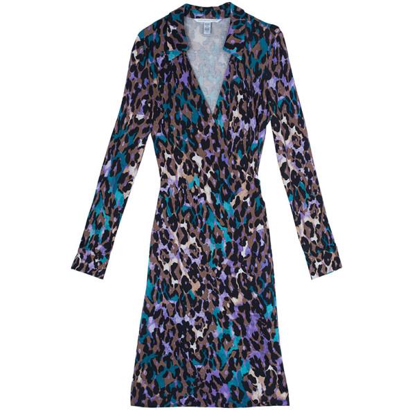 Diane Von Furstenberg Jeanne Animal Print Wrap Dress M
