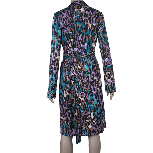 Diane Von Furstenberg Jeanne Animal Print Wrap Dress M