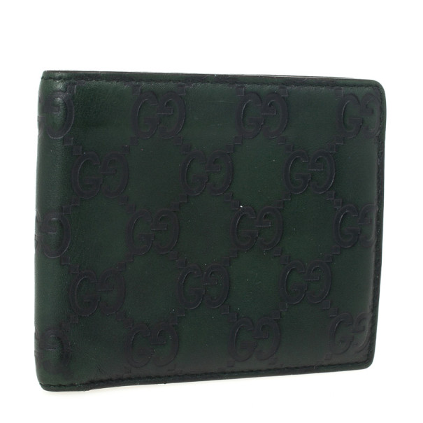 Gucci Green Guccissima Leather Bi-Fold Compact Wallet