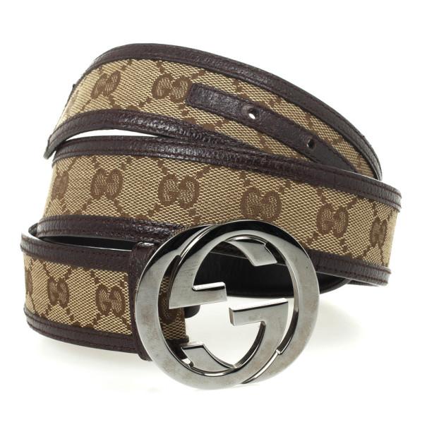 Gucci Brown Guccissima Interlocking G Buckle Belt