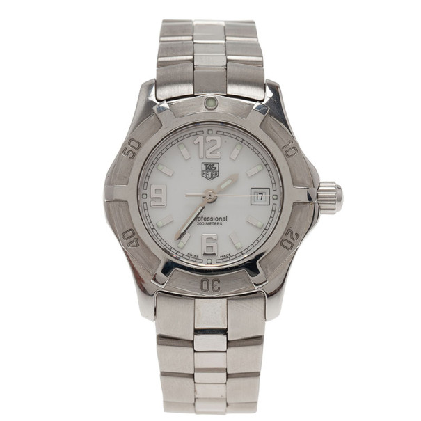 Tag Heuer White Stainless Steel Professional Women's Wristwatch 30MM