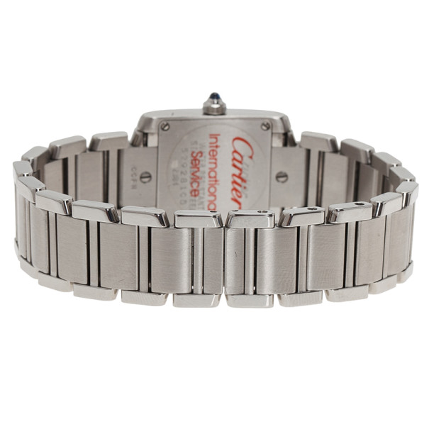Cartier Silver Stainless Steel Tank Francaise Women's Wristwatch 20MM