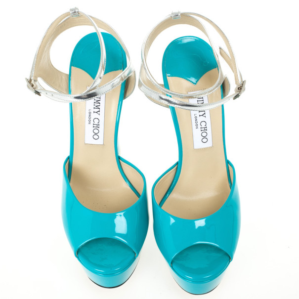 Jimmy Choo Blue Patent Leather Lolita Platform Sandals Size 39