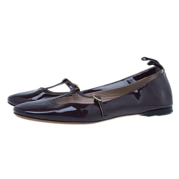Chloe Burgundy Patent Leather Mary Jane Ballet Flats Size 38