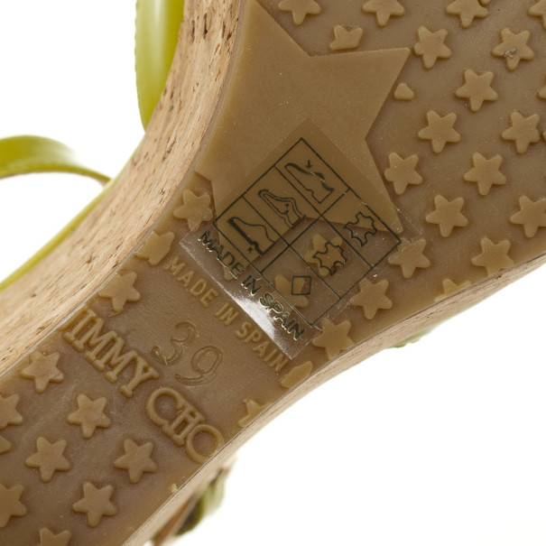 Jimmy Choo Yellow Patent Leather Pela Cork Wedge Sandals Size 39
