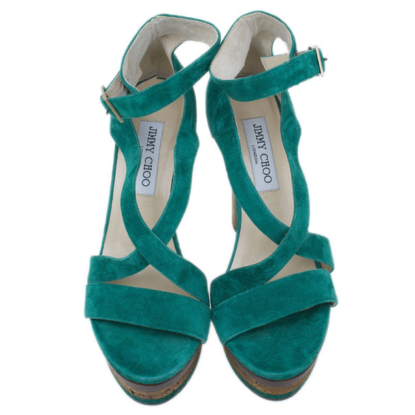 Jimmy Choo Green Suede Cork Platform Sandals Size 38