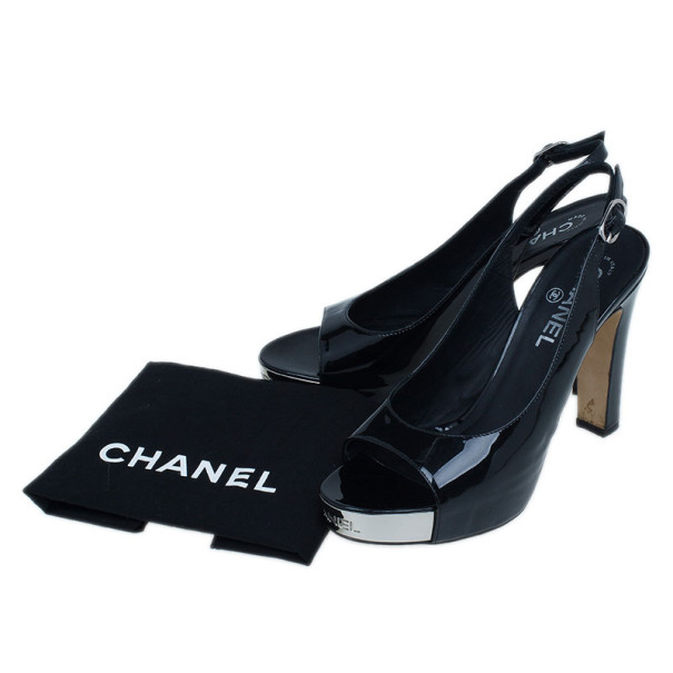 Chanel Black Patent Open Toe Slingback Sandals Size 38