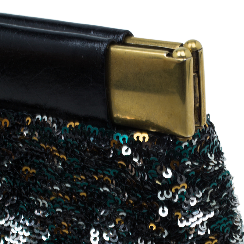 Miu Miu Multicolour Sequin Leather Clutch