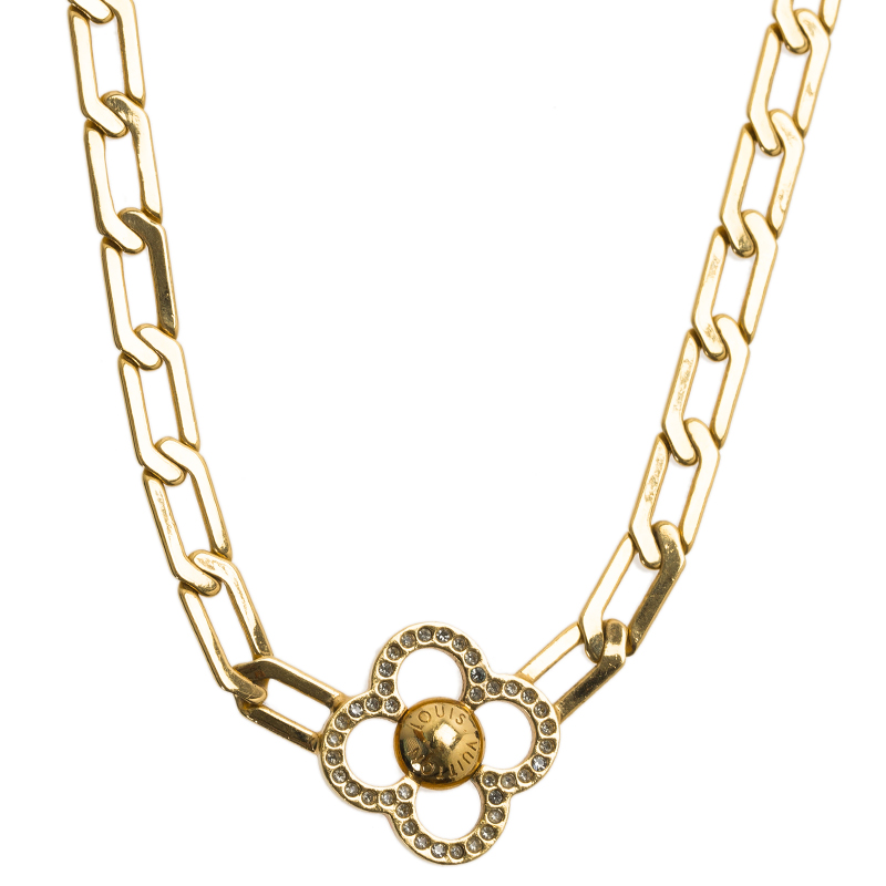 Louis Vuitton Flower Power Crystal Gold Tone Necklace