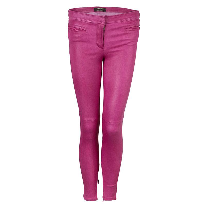 Roberto Cavalli Pink Leather Pants M