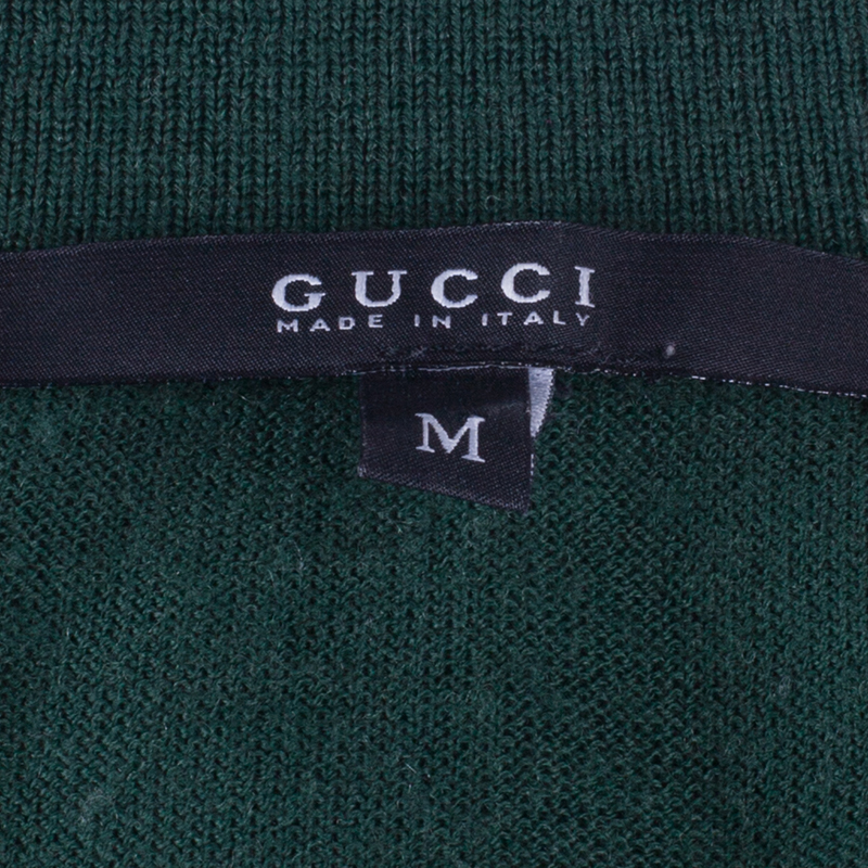 Gucci Green Cashmere Short Sleeve Polo Shirt M