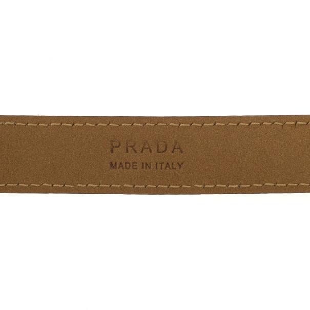Prada Tan Leather Logo Plaque Belt 80 CM