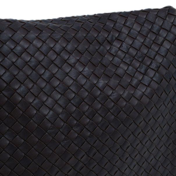 Bottega Veneta Brown Moro Intrecciato Leather Large Crossbody Messenger