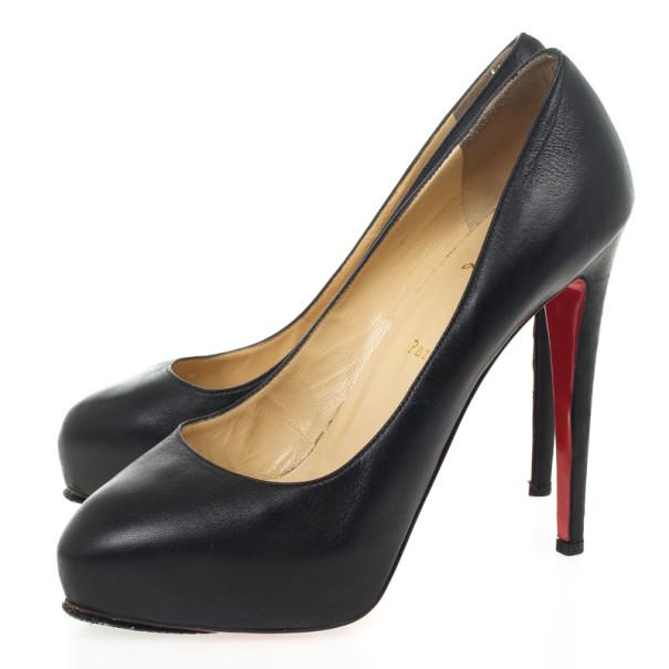 Christian Louboutin Black Leather Miss Clichy Platform Pumps Size 41