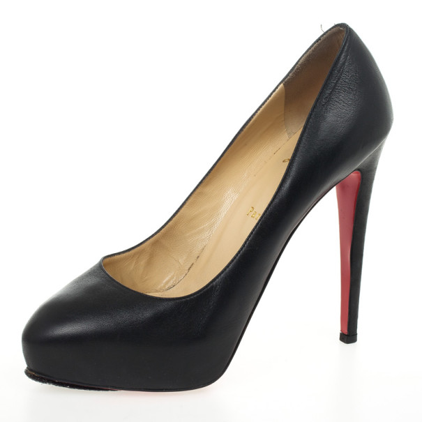 Christian Louboutin Black Leather Miss Clichy Platform Pumps Size 41