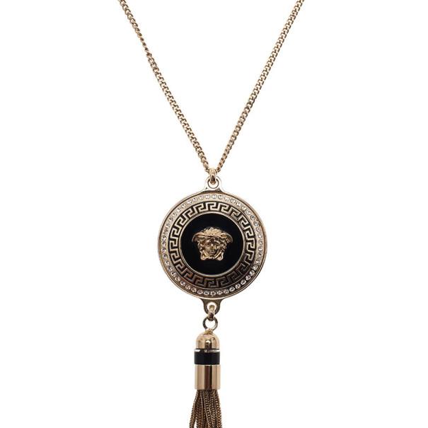 Versace Medusa Tassel Black Enamel Gold-Tone Necklace