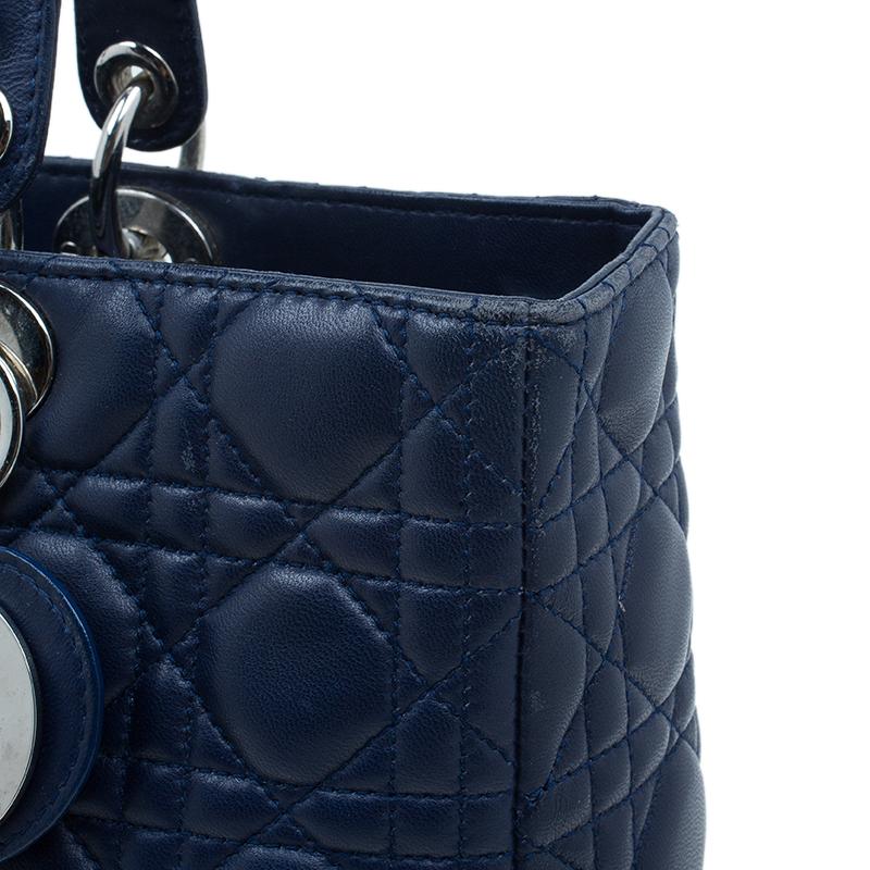 Dior Blue Lambskin Large Lady Dior Tote