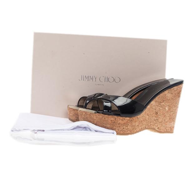 Jimmy Choo Black Patent Perfume Cork Wedges Size 38.5