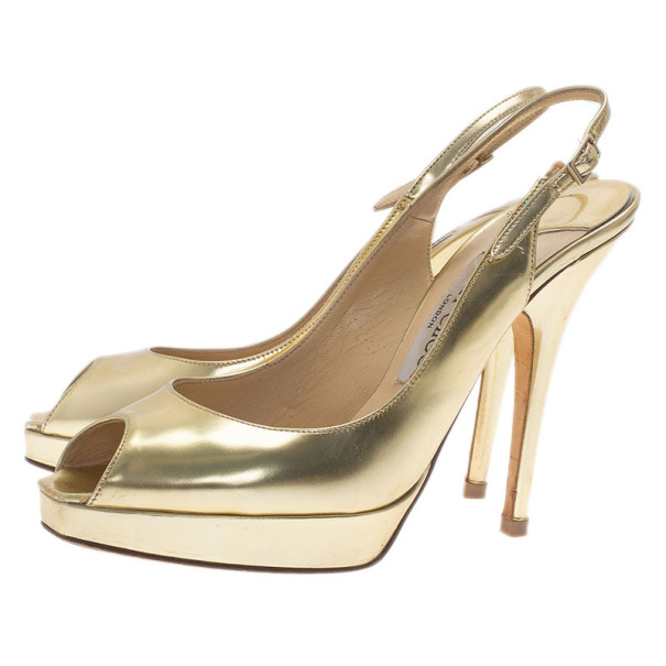 Jimmy Choo Gold Metallic Leather Clue Platform Slingback Sandals Size 38.5