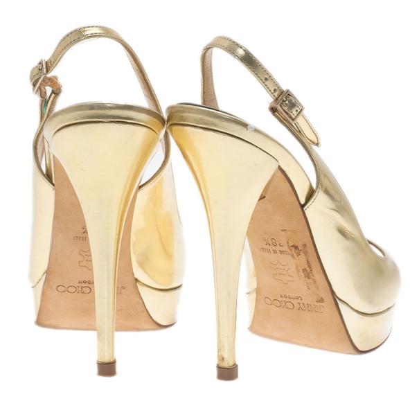 Jimmy Choo Gold Metallic Leather Clue Platform Slingback Sandals Size 38.5