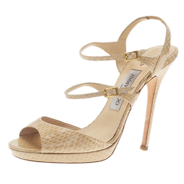 Jimmy Choo Beige Watersnake Elliot Platform Sandals Size 39