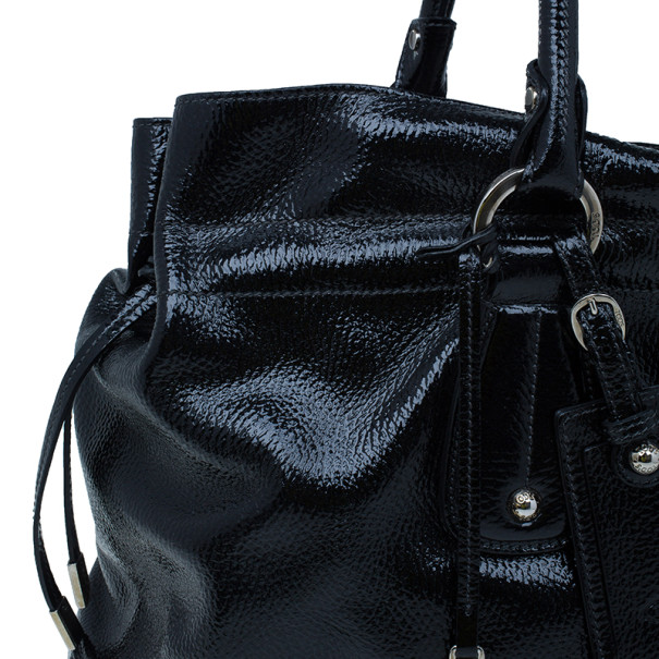 Tod's Black Patent Leather Restyled D-Bag Media Tote