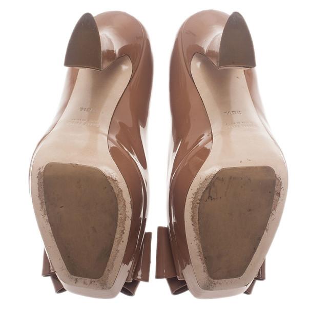 Miu Miu Nude Patent Bow Peep Toe Platform Pumps Size 38.5