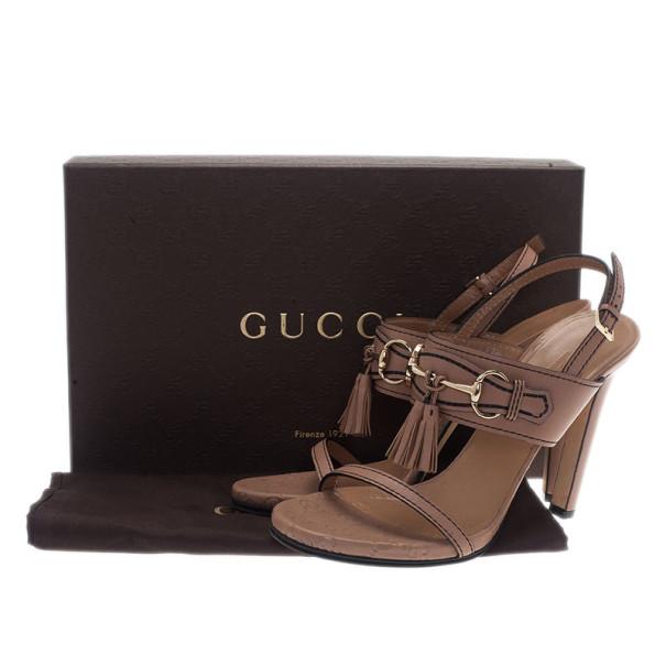 Gucci Beige Horsebit Tassel Emily Slingback Sandals Size 39
