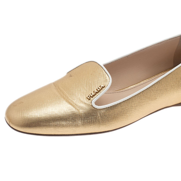 Prada Gold Saffiano Leather Smoking Slippers Size 37