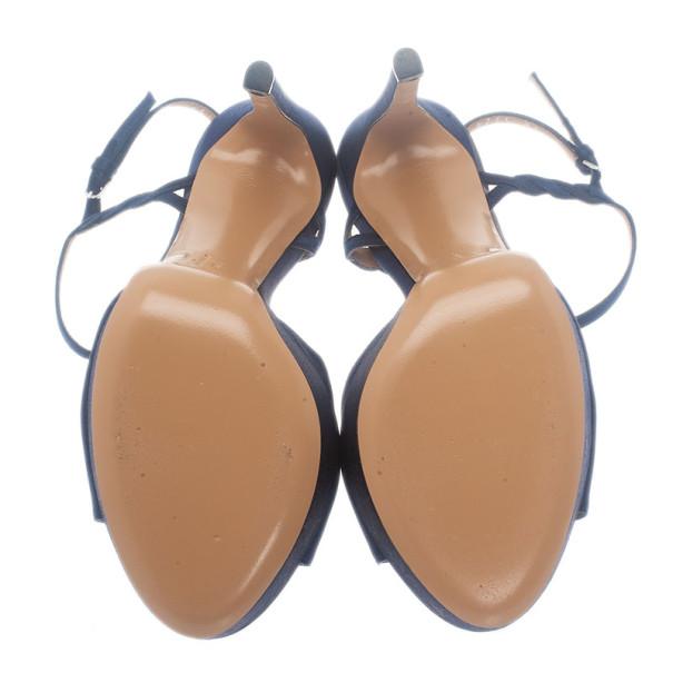 Salvatore Ferragamo Blue Satin Platform Sandals Size 39