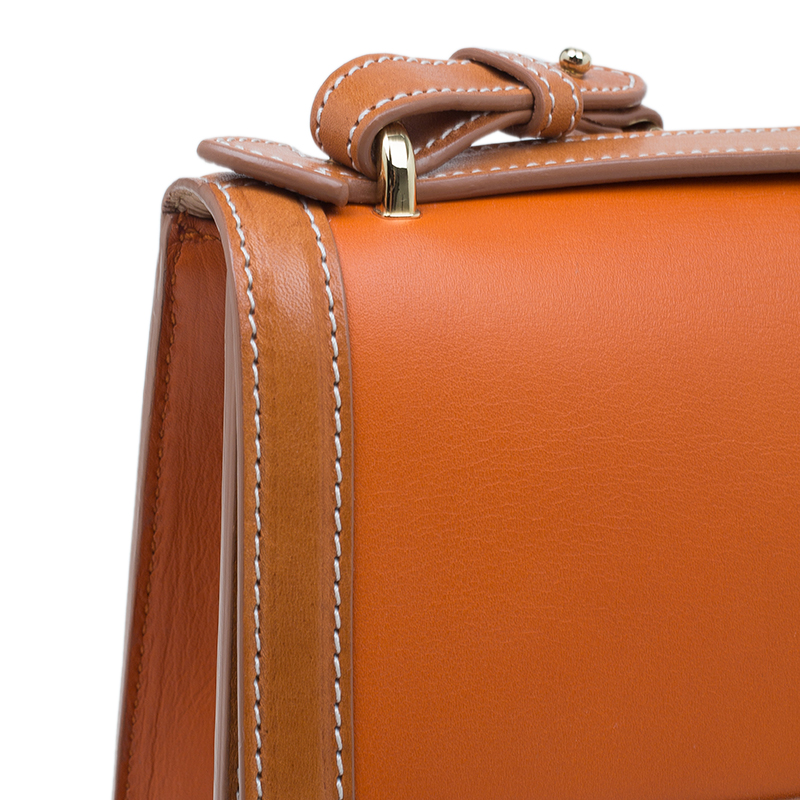 Salvatore Ferragamo Orange Bi Color Leather Marisol Shoulder Bag