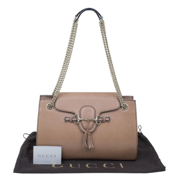 Gucci Nude Leather Large Emily Chain Shoulder Bag