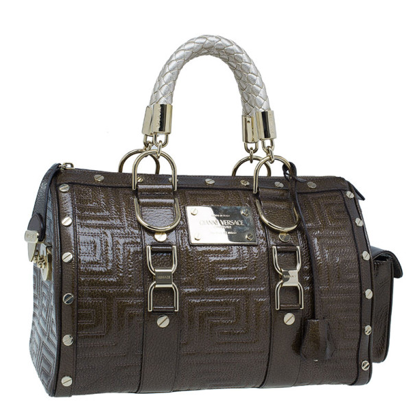 Versace Bronze Quilted Snap Out Of It Satchel