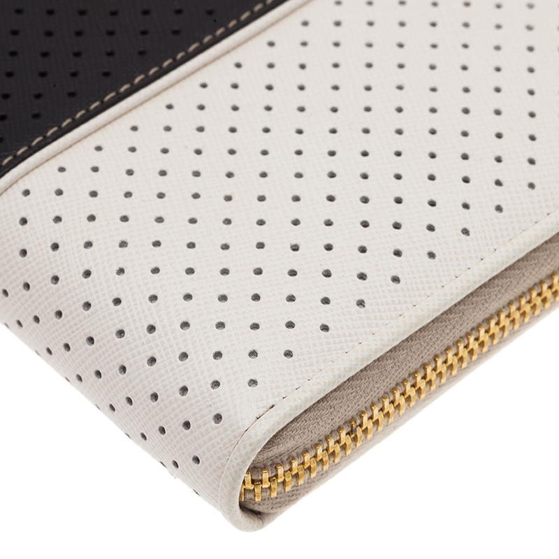 Prada Two Tone Perforated Wallet