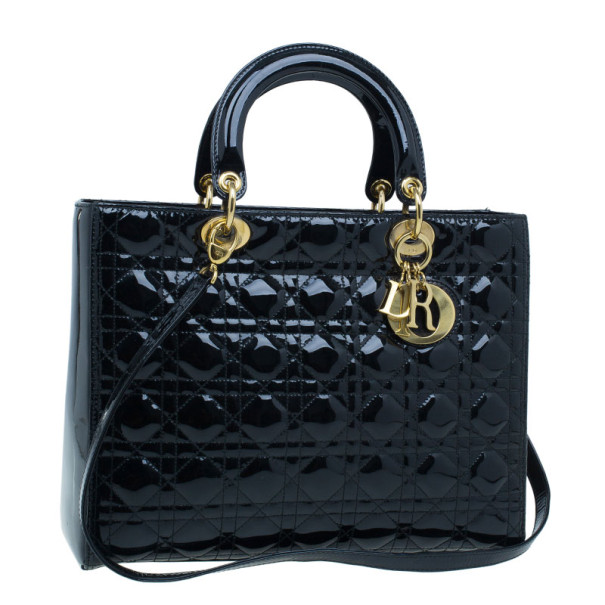 Dior Black Patent Large Lady Dior