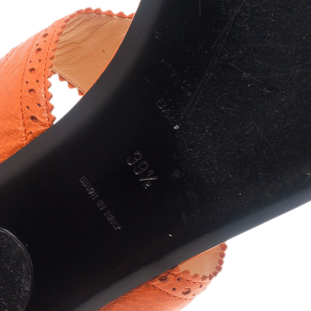 Balenciaga Orange Leather Brogue Thong Sandals Size 39.5