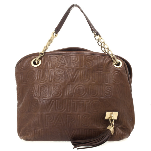 Louis Vuitton Limited Edition Chocolate Leather Paris Souple Whisper PM Bag