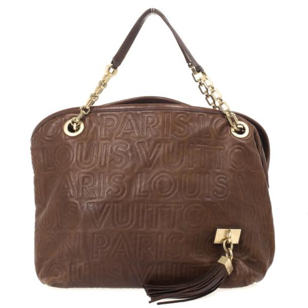 Louis Vuitton Limited Edition Chocolate Leather Paris Souple Whisper PM Bag