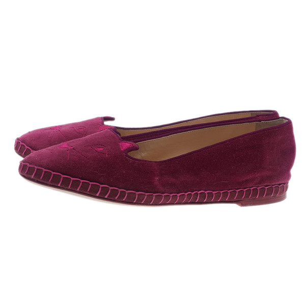 Charlotte Olympia Pink Suede Capri Cat Espadrille Loafers Size 39