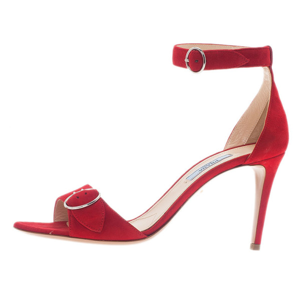 Prada Red Suede Ankle Strap Sandals Size 39