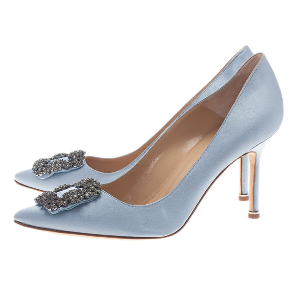 Manolo Blahnik Grey Satin Hangisi Embellished Pumps Size 39.5