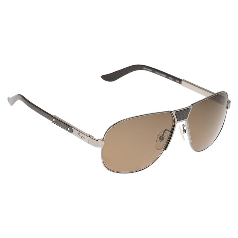 Salvatore Ferragamo Silver\/Grey SF137SP Aviator Sunglasses ...