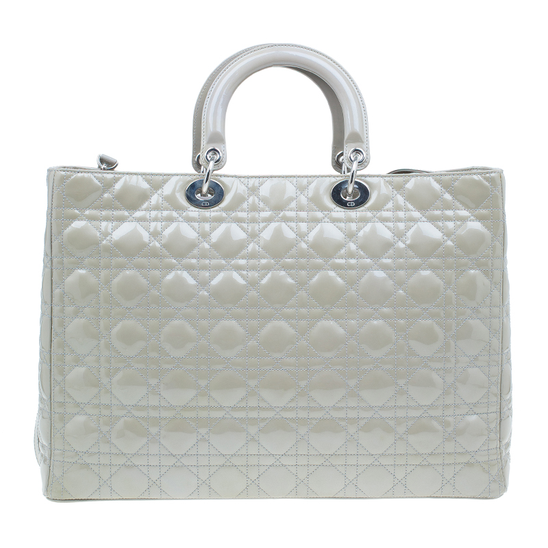 Dior Beige Patent Leather Extra Large Lady Dior Tote
