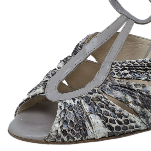 Jimmy Choo Grey Python Embossed Strappy Sandals Size  38