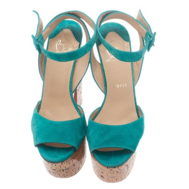 Christian Louboutin Blue Suede Super Dombasle Platform Cork Wedge Ankle Strap Sandals Size 38