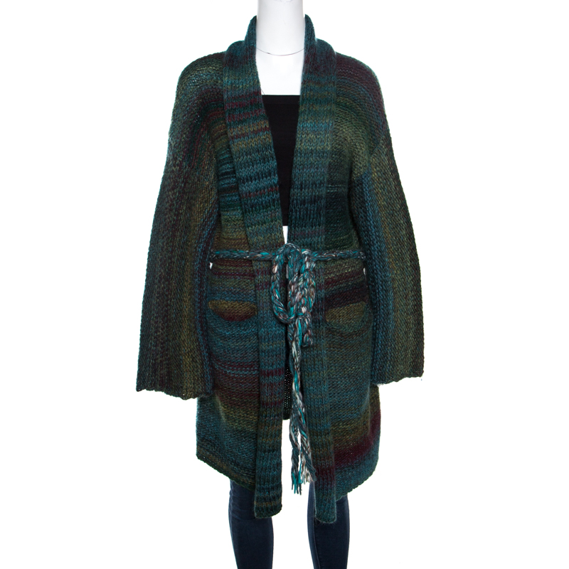 Купить со скидкой Zadig and Voltaire Multicolor Chunky Knit Belted Mia Cardigan M/L